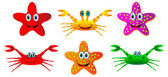 Set of crabs and starfish — Stock Vector