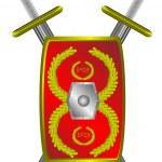 Roman legionary shield and cross sword — Stock Vector