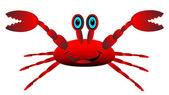 Red crab on white — Vector de stock