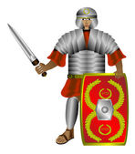 Legionnaire (roman soldier) on white — Stock Vector