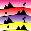 Pattern with pyramids and palms at sunset — Stock Vector