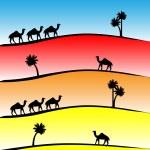 Шаблон с верблюдов и пальмы на закате - Стоковая иллюстрация.