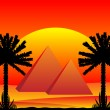 Stock Vector: Sahardesert with egyptipyramids at sunset