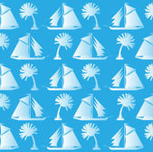 Background, silhouettes of palms and ships — Vector de stock