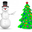 Snowman and Christmas tree on white — Stock Vector