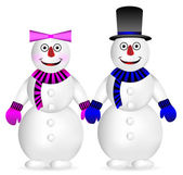 Snowman and snow woman — Stock Vector