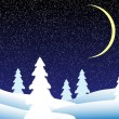 Royalty-Free Stock Vector Image: Winter landscape at night