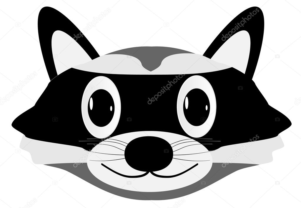 Raccoon face — Stock Vector © konstsem #7529746 Raccoon Face Illustration