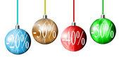 Bolas de navidad descuento — Vector de stock