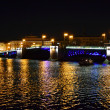 Night view of Palace Bridge in St Petersburg — Stock Photo