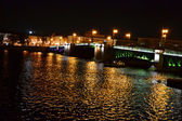 Night view of Palace Bridge in St Petersburg — Stock fotografie