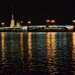 Palace Bridge at night in St.Petersburg — Stock Photo