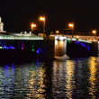 Palace Bridge at night in St.Petersburg — Foto Stock