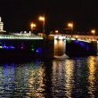 Palace Bridge at night in St.Petersburg — 图库照片