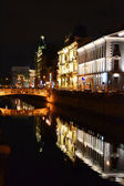 Night view of Griboyedov Canal in St.Petersburg — Stock Photo