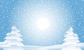 Winterlandschap met dalende sneeuw — Stockvector