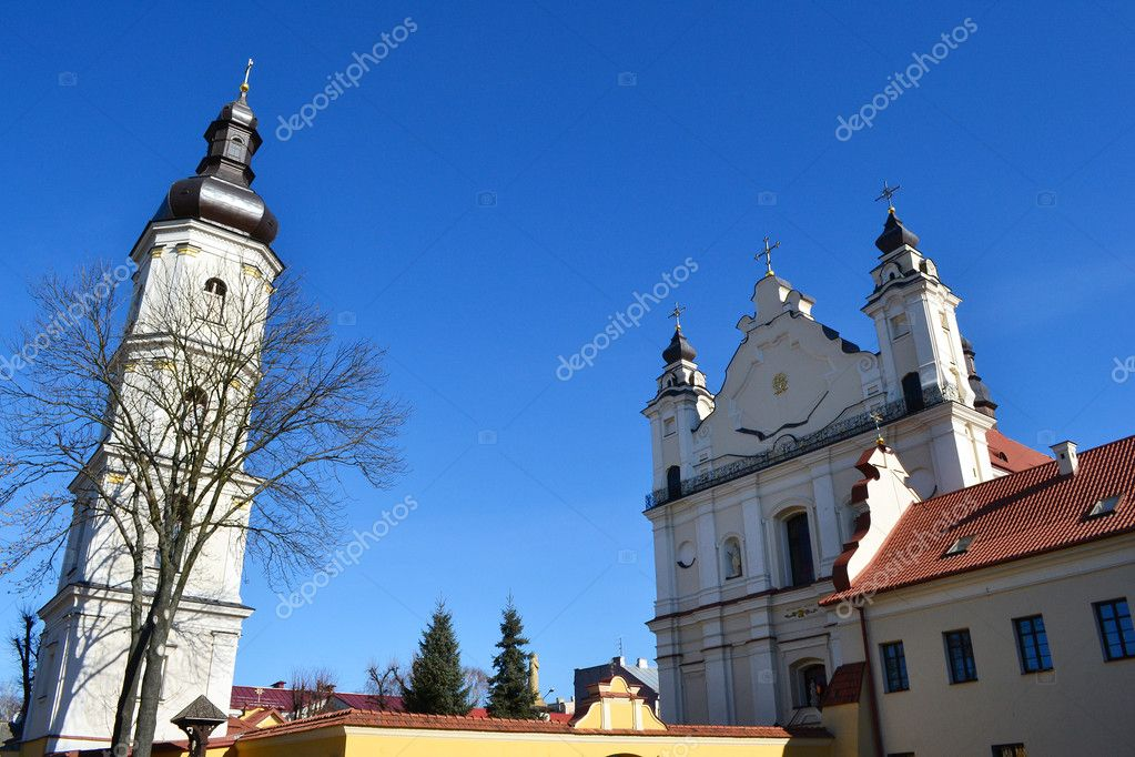 Roman Catholic Cathedral  in old part of  Pinsk, Belarus — Stock Photo #7771873