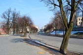 Street in Minsk on a sunny spring day — Stock Photo