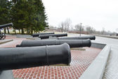 Guns in memorial complex Brestskaya fortress — Stock Photo