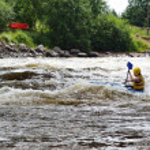Kayaker on river Vuoksi — Stock Photo #7882730