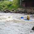 Kayaker on river Vuoksi — Stock Photo #7882742