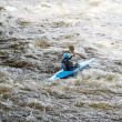 Kayaker on river Vuoksi - Stock Photo