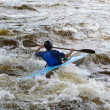 Kayaker on river Vuoksi — Stock Photo