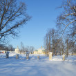 Winter landscape with palace, Oranienbaum — Stock Photo
