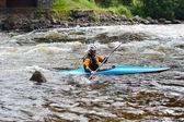 Kayaker on river Vuoksi — Stock Photo