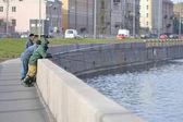 Fishermens on the waterfront, St.Petersburg — Stock Photo