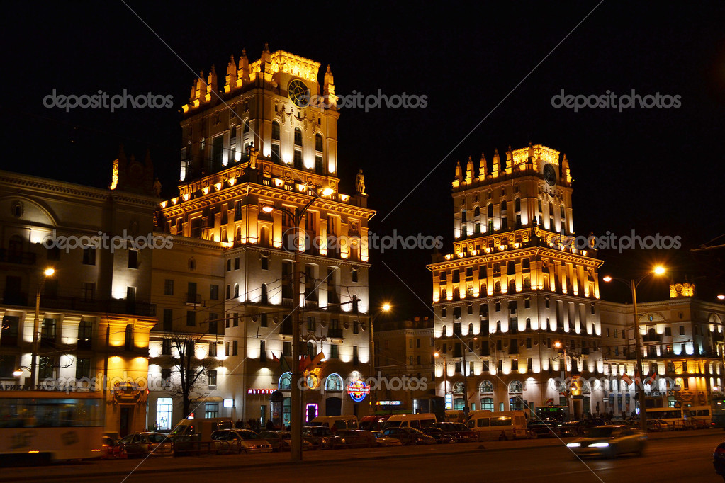 Minsk, Belarus - March 12, 2011 - View of Railway Station Square at night  Stock Photo #7930051
