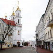view of street in vitebsk on a cloudy spring day — Stock Photo
