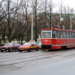 Red tram in Vitebsk — Stock Photo