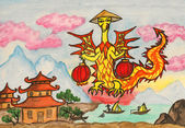 Dragon New Year comes to China — Stock Photo