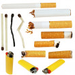 Big Collection cigarette butts, cigarette, matches, lighters, isolated — Stock Photo