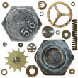 Stock Photo: Gears, Screw heads, spring, bolts, steel nuts, old metal, isolated on white
