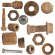 Stock Photo: Old rusty screw heads, bolts, steel nuts, old metal isolated