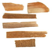 Collection pieces of broken planks of beech isolated on white — Stock Photo