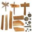Stock Photo: Collection wooden notice board, pieces of broken planks