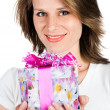 Woman with gift - Stock Photo