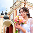 Bride at the church — Stock Photo