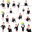 Girl gymnast collection — Stock Photo