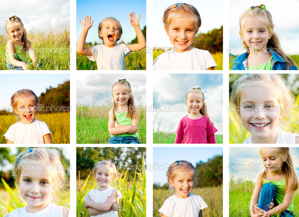Set of beautiful little girl in a meadow — Photo #7877832