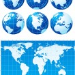 Set of globes and world map — Stock Vector #6841509