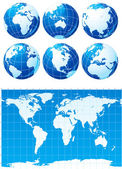 набор глобусы и карта мира — Cтоковый вектор