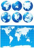 Zestaw globusy i mapa świata — Wektor stockowy