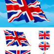 Stock Vector: Set of British flag