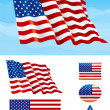 Set of American flag — Stock Vector