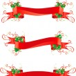 Christmas holly banners — Stock Vector