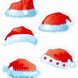 Set of santa hats — Stockvektor